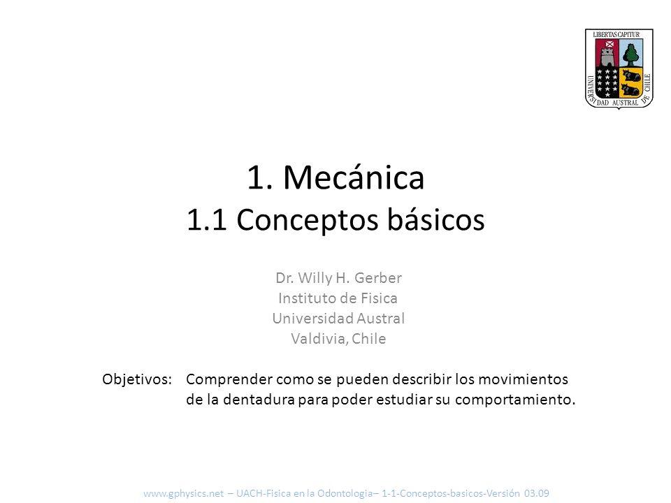 [ ] Aceleración Aceleración se define como: Aceleración = Variación de la Velocidad Tiempo transcurrido Metros Segundos 2 = msms O como ecuación: v 2 – v 1 t 2 – t 1 www.gphysics.net – UACH-Fisica en la Odontologia– 1-1-Conceptos-basicos-Versión 03.09 Caso aceleración constante Caso aceleración variable (por trechos pequeños constante)