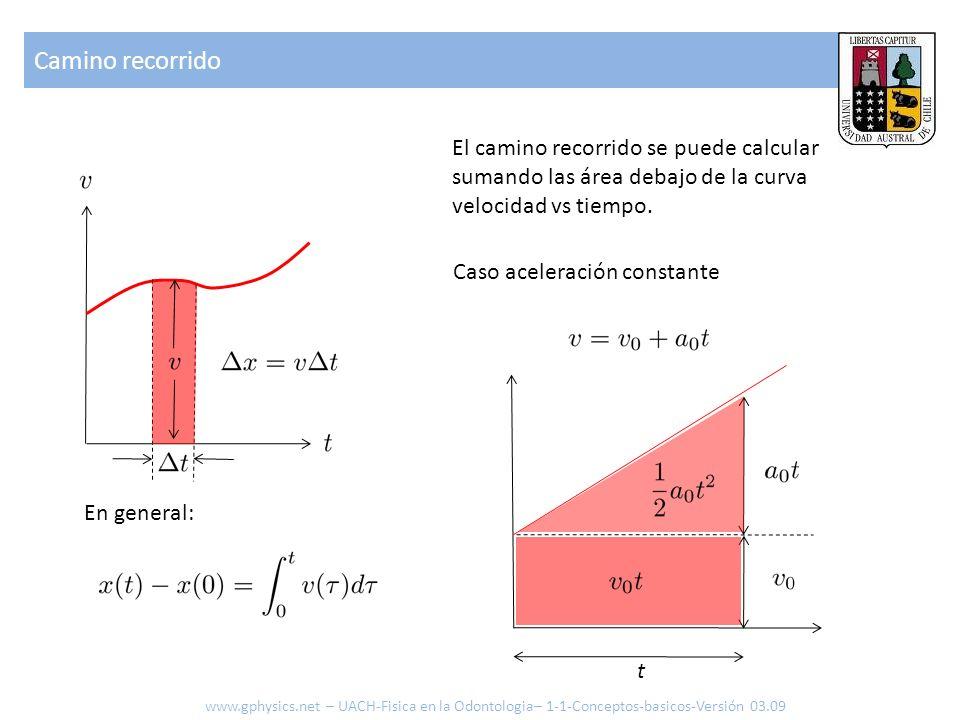 Camino recorrido El camino recorrido se puede calcular sumando las área debajo de la curva velocidad vs tiempo. Caso aceleración constante t www.gphys