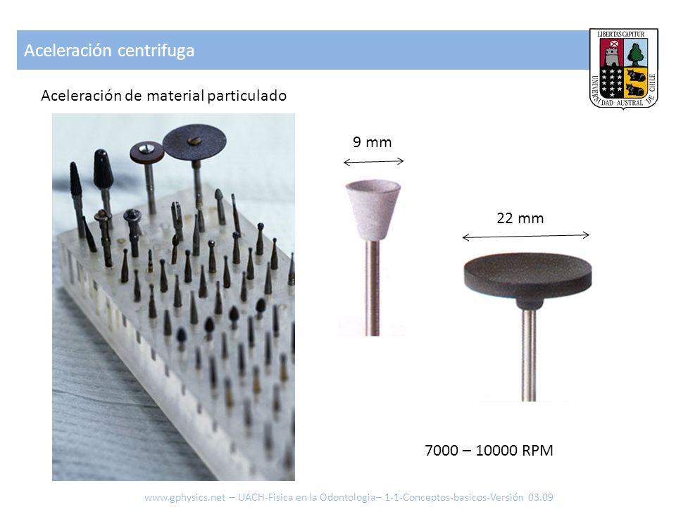 Aceleración centrifuga Aceleración de material particulado www.gphysics.net – UACH-Fisica en la Odontologia– 1-1-Conceptos-basicos-Versión 03.09 22 mm
