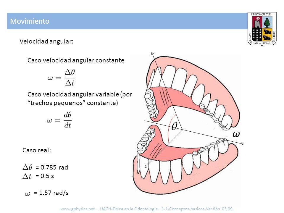 Velocidad angular: Movimiento ω Caso real: = 0.785 rad = 0.5 s = 1.57 rad/s www.gphysics.net – UACH-Fisica en la Odontologia– 1-1-Conceptos-basicos-Ve