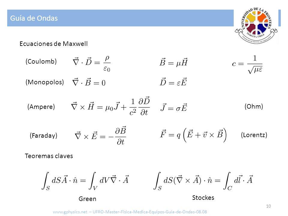Guía de Ondas 10 Ecuaciones de Maxwell www.gphysics.net – UFRO-Master-Fisica-Medica-Equipos-Guia-de-Ondas-08.08 Teoremas claves Stockes Green (Coulomb