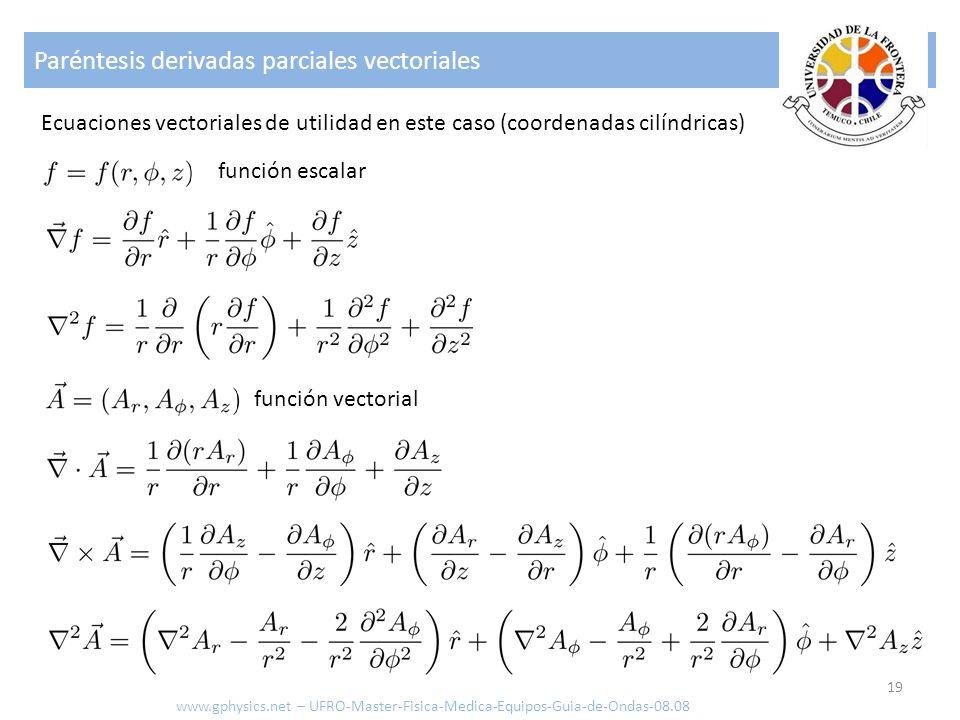 Paréntesis derivadas parciales vectoriales 19 Ecuaciones vectoriales de utilidad en este caso (coordenadas cilíndricas) www.gphysics.net – UFRO-Master