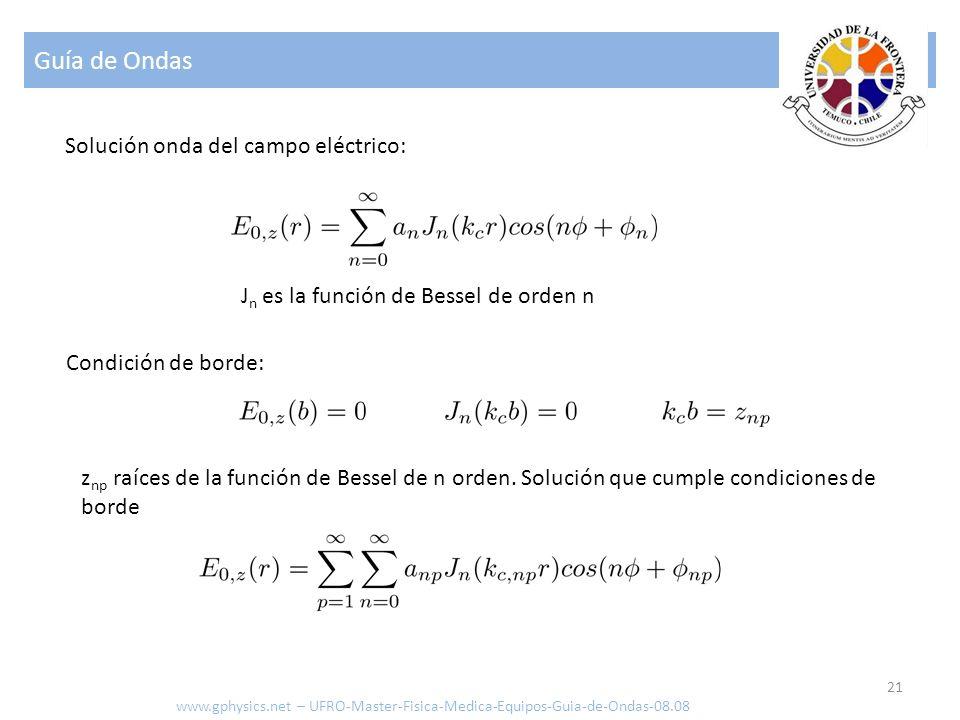 Guía de Ondas 21 Solución onda del campo eléctrico: Condición de borde: J n es la función de Bessel de orden n z np raíces de la función de Bessel de