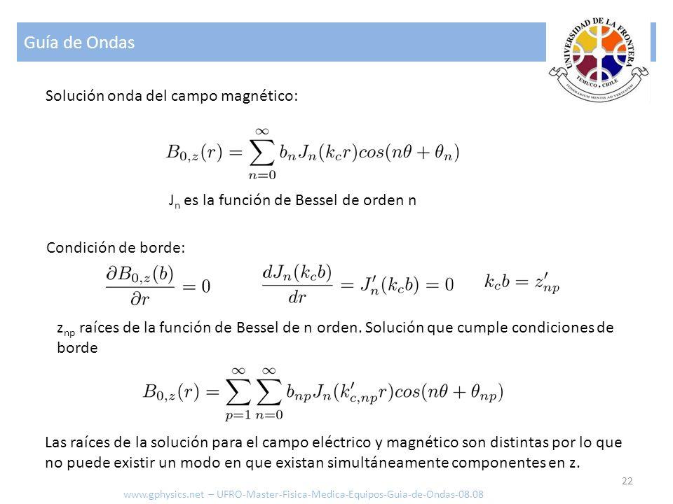 Guía de Ondas 22 Solución onda del campo magnético: Condición de borde: J n es la función de Bessel de orden n z np raíces de la función de Bessel de