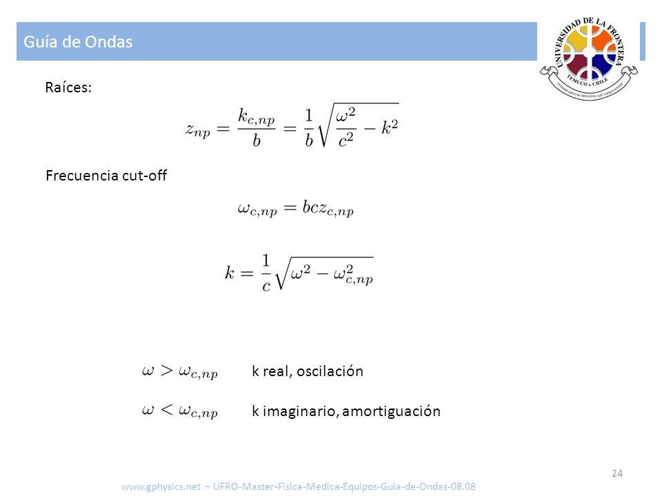 Guía de Ondas 24 Raíces: Frecuencia cut-off k real, oscilación k imaginario, amortiguación www.gphysics.net – UFRO-Master-Fisica-Medica-Equipos-Guia-d