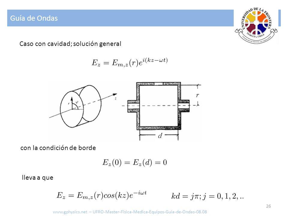 Guía de Ondas 26 Caso con cavidad; solución general con la condición de borde d r lleva a que www.gphysics.net – UFRO-Master-Fisica-Medica-Equipos-Gui