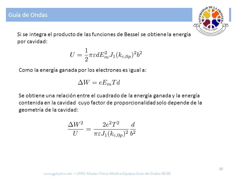 Guía de Ondas 30 Como la energía ganada por los electrones es igual a: www.gphysics.net – UFRO-Master-Fisica-Medica-Equipos-Guia-de-Ondas-08.08 Si se