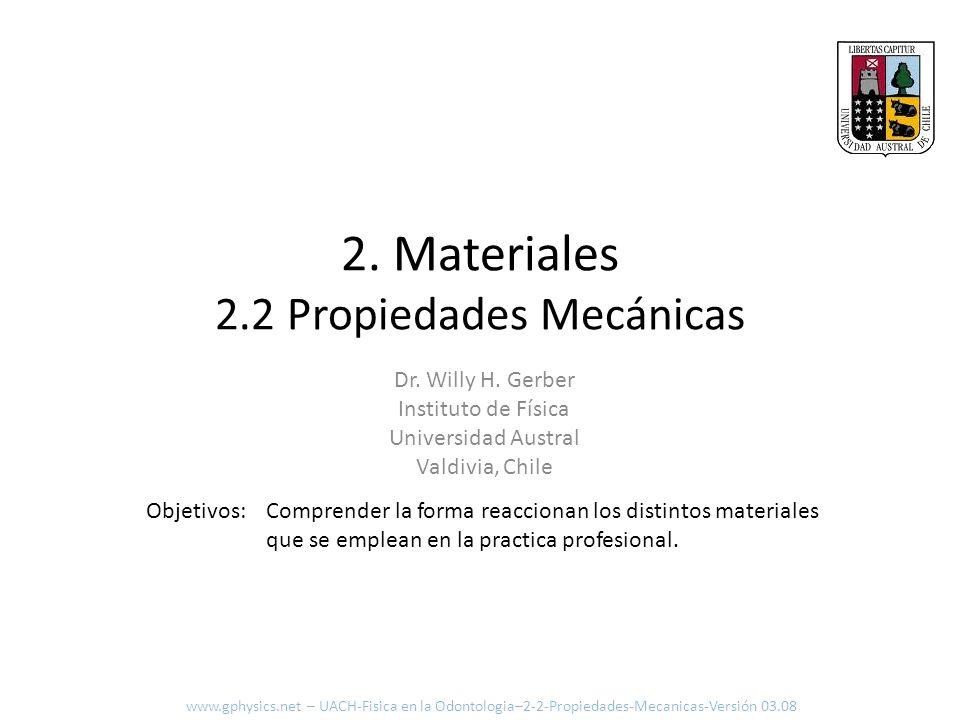2. Materiales 2.2 Propiedades Mecánicas Comprender la forma reaccionan los distintos materiales que se emplean en la practica profesional. Objetivos: