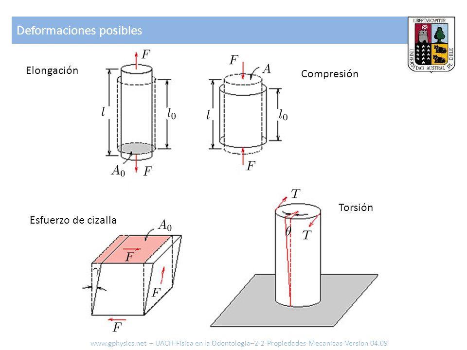 Deformaciones posibles www.gphysics.net – UACH-Fisica en la Odontologia–2-2-Propiedades-Mecanicas-Version 04.09 Elongación Compresión Torsión Esfuerzo