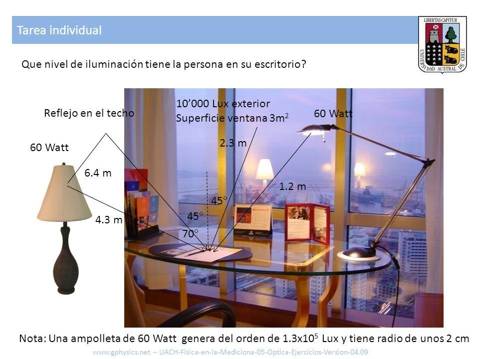 Tarea individual Que nivel de iluminación tiene la persona en su escritorio? 60 Watt Reflejo en el techo 10000 Lux exterior Superficie ventana 3m 2 1.