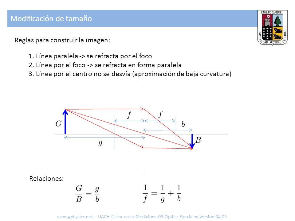 Modificación de tamaño 1. Línea paralela -> se refracta por el foco 2. Línea por el foco -> se refracta en forma paralela 3. Línea por el centro no se
