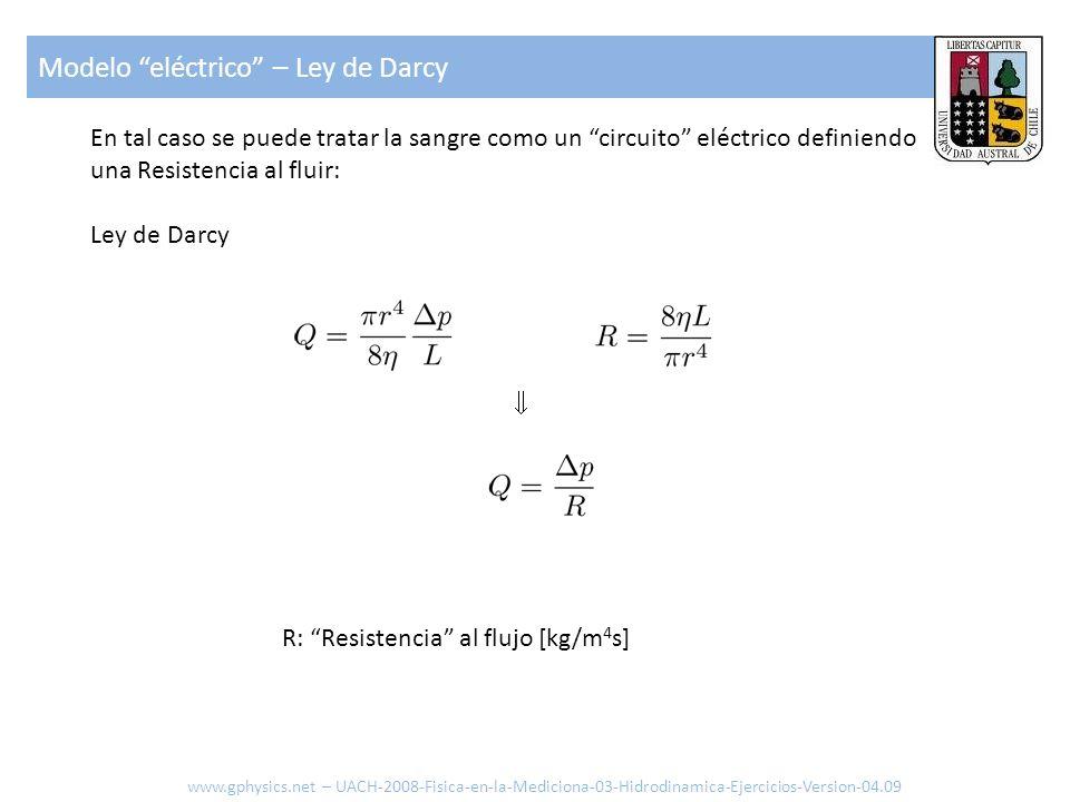 En tal caso se puede tratar la sangre como un circuito eléctrico definiendo una Resistencia al fluir: Ley de Darcy R: Resistencia al flujo [kg/m 4 s]