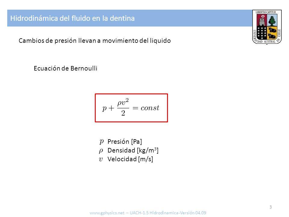 Hidrodinámica del fluido en la dentina 3 www.gphysics.net – UACH-1.5 Hidrodinamica-Versión 04.09 Ecuación de Bernoulli Presión [Pa] Densidad [kg/m 3 ] Velocidad [m/s] Cambios de presión llevan a movimiento del liquido