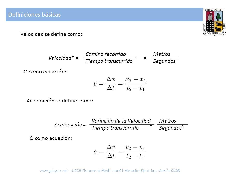 Definiciones básicas Aceleración se define como: Aceleración = Variación de la Velocidad Tiempo transcurrido Metros Segundos 2 = O como ecuación: Velo