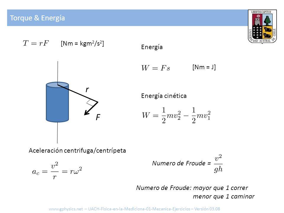 r F [Nm = kgm 2 /s 2 ] Torque & Energía [Nm = J] Energía Energía cinética Aceleración centrifuga/centrípeta Numero de Froude = Numero de Froude: mayor