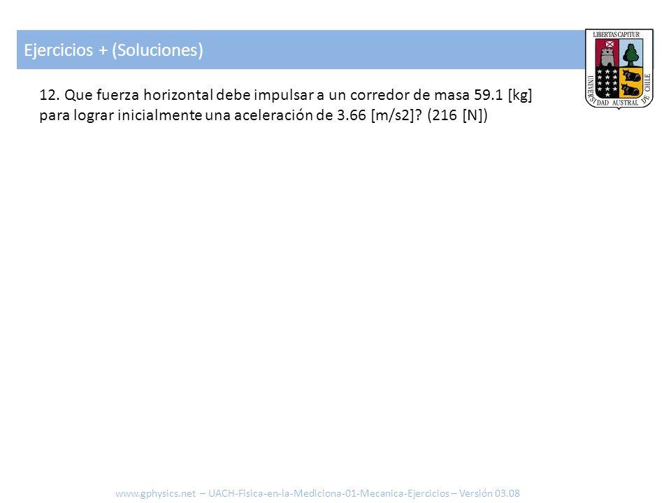 Ejercicios + (Soluciones) www.gphysics.net – UACH-Fisica-en-la-Mediciona-01-Mecanica-Ejercicios – Versión 03.08 12. Que fuerza horizontal debe impulsa