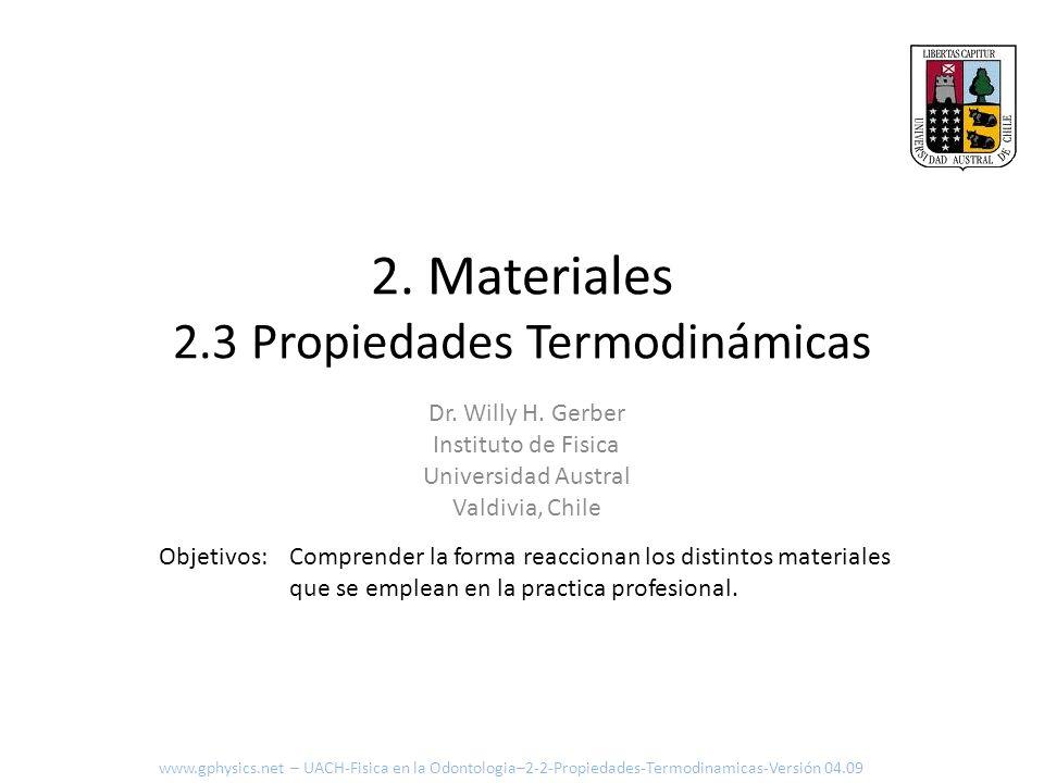 2. Materiales 2.3 Propiedades Termodinámicas Comprender la forma reaccionan los distintos materiales que se emplean en la practica profesional. Objeti