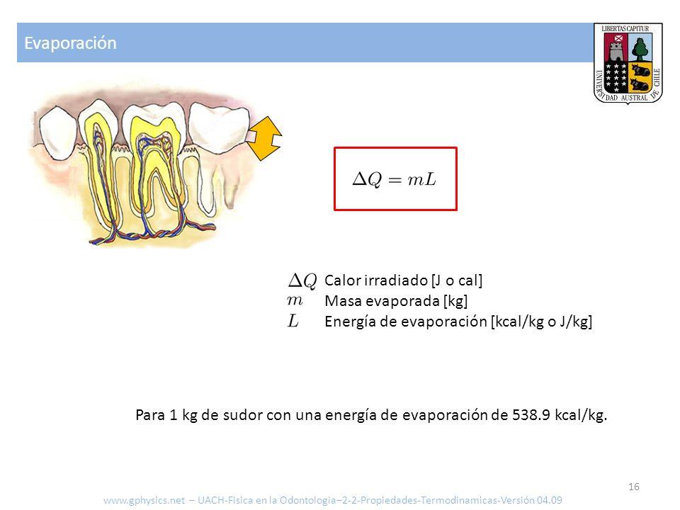 Evaporación Calor irradiado [J o cal] Masa evaporada [kg] Energía de evaporación [kcal/kg o J/kg] Para 1 kg de sudor con una energía de evaporación de