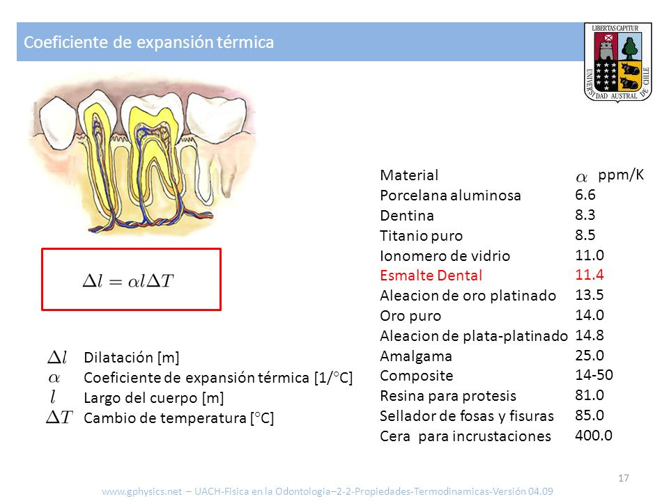 Coeficiente de expansión térmica 17 www.gphysics.net – UACH-Fisica en la Odontologia–2-2-Propiedades-Termodinamicas-Versión 04.09 Dilatación [m] Coefi
