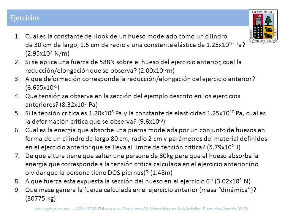 Ejercicios www.gphysics.net – UACH-2008-Fisica-en-la-Mediciona-02-Materiales-en-la-Medicina–Ejercicios-Versión 03.09 1.Cual es la constante de Hook de un hueso modelado como un cilindro de 30 cm de largo, 1.5 cm de radio y una constante elástica de 1.25x10 10 Pa.