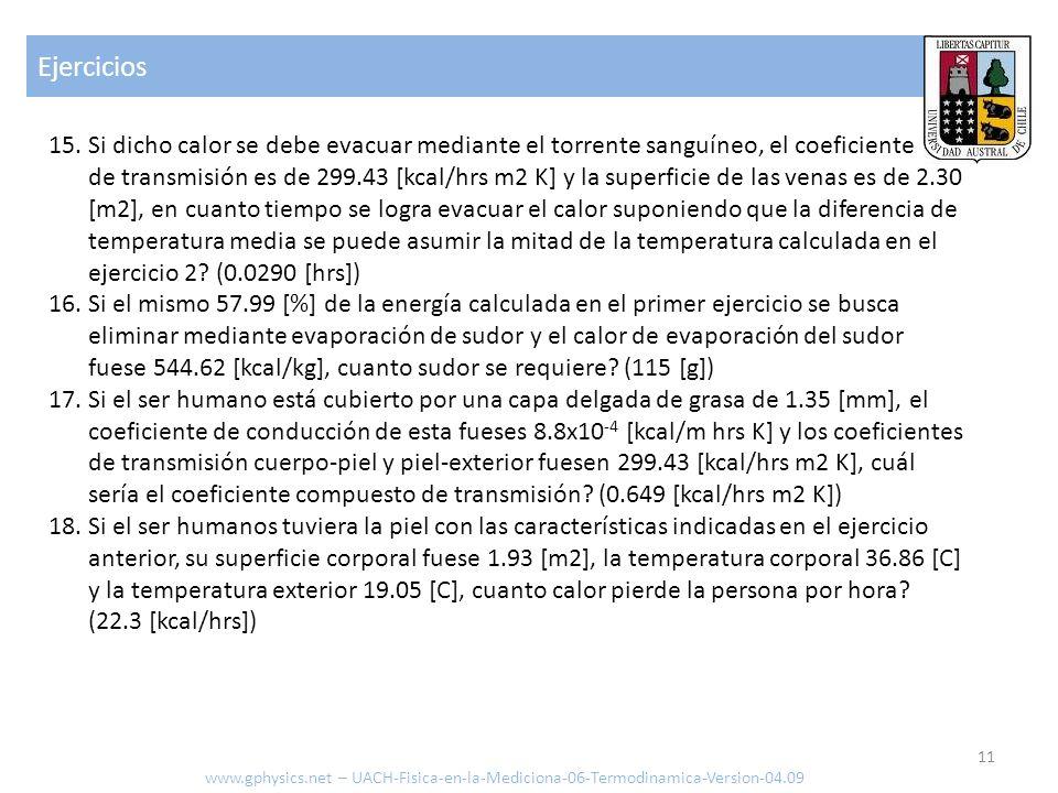 Ejercicios www.gphysics.net – UACH-Fisica-en-la-Mediciona-06-Termodinamica-Version-04.09 11 15. Si dicho calor se debe evacuar mediante el torrente sa