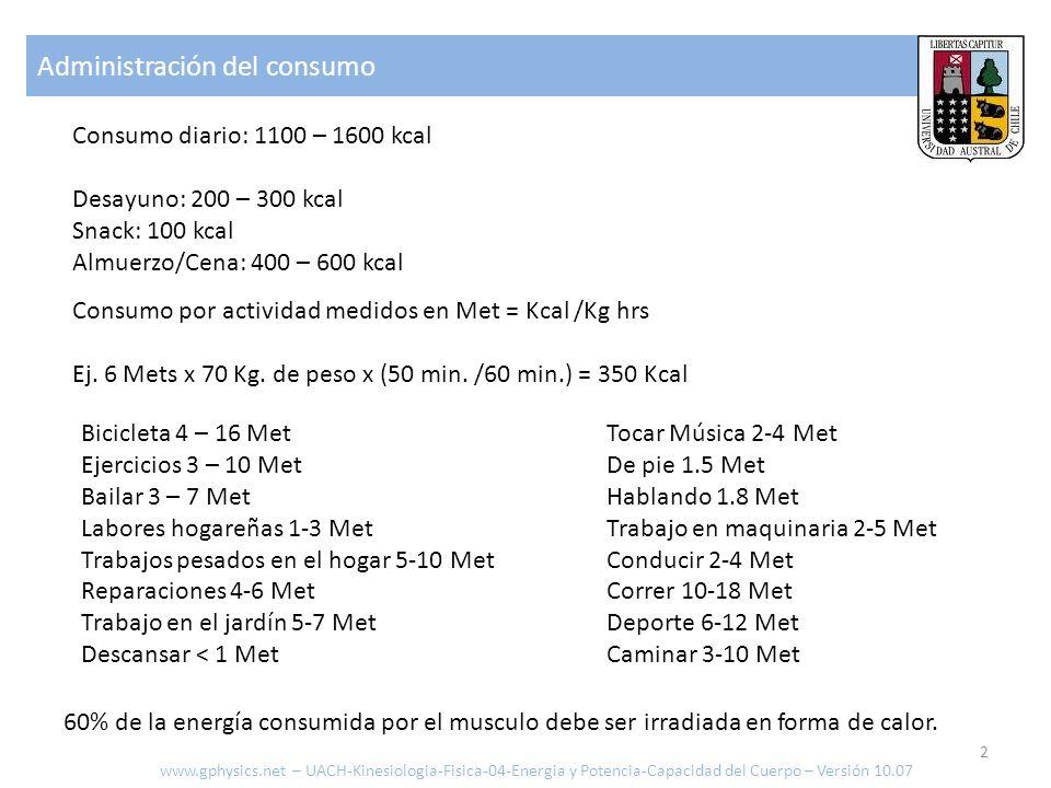 Administración del consumo www.gphysics.net – UACH-Kinesiologia-Fisica-04-Energia y Potencia-Capacidad del Cuerpo – Versión 10.07 Consumo por activida