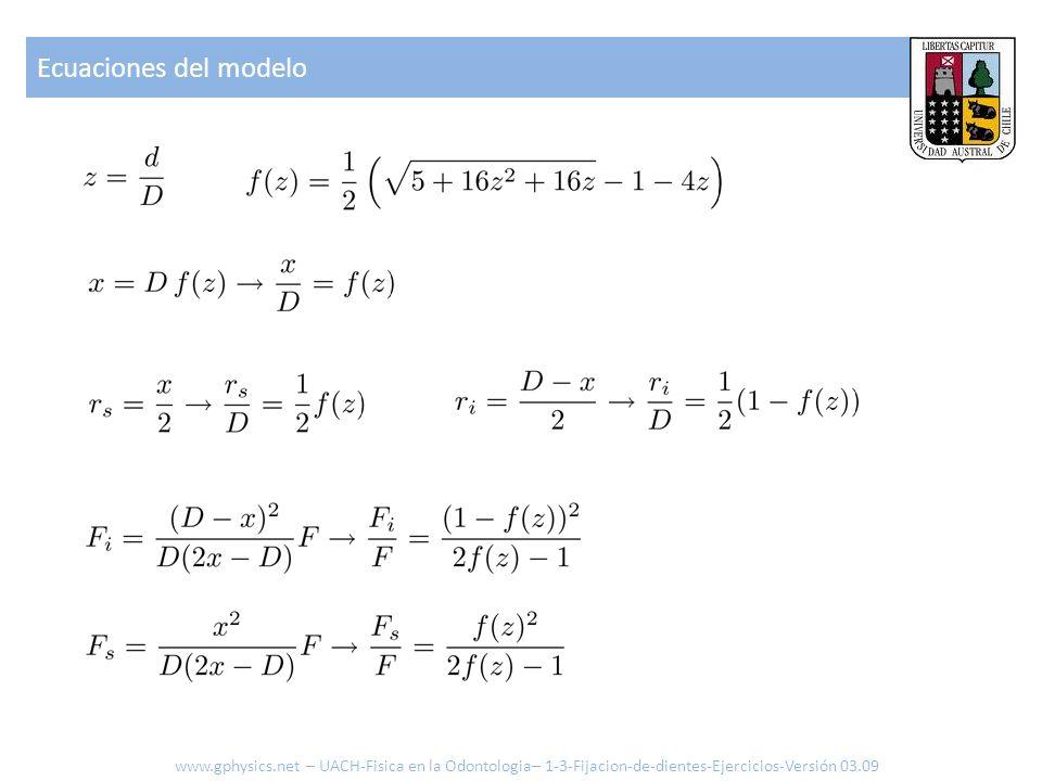 Ecuaciones del modelo www.gphysics.net – UACH-Fisica en la Odontologia– 1-3-Fijacion-de-dientes-Ejercicios-Versión 03.09
