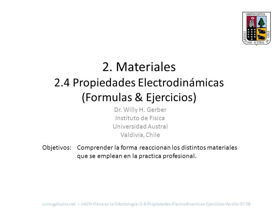 2. Materiales 2.4 Propiedades Electrodinámicas (Formulas & Ejercicios) Comprender la forma reaccionan los distintos materiales que se emplean en la pr