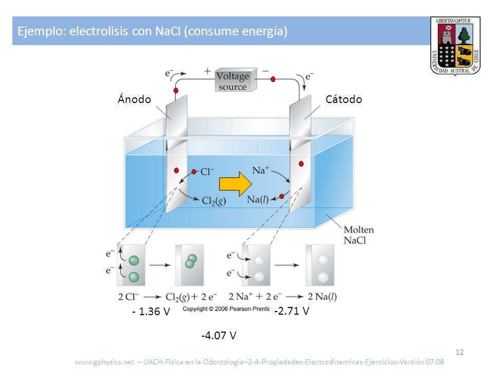 CátodoÁnodo - 1.36 V -2.71 V Ejemplo: electrolisis con NaCl (consume energía) 12 www.gphysics.net – UACH-Fisica en la Odontologia–2-4-Propiedades-Elec