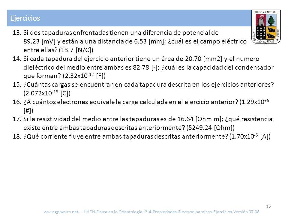 Ejercicios 16 www.gphysics.net – UACH-Fisica en la Odontologia–2-4-Propiedades-Electrodinamicas-Ejercicios-Versión 07.08 13. Si dos tapaduras enfrenta