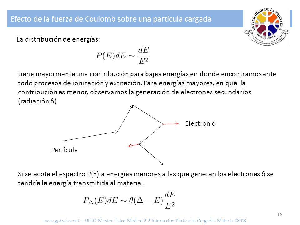Efecto de la fuerza de Coulomb sobre una partícula cargada 16 La distribución de energías: tiene mayormente una contribución para bajas energías en do