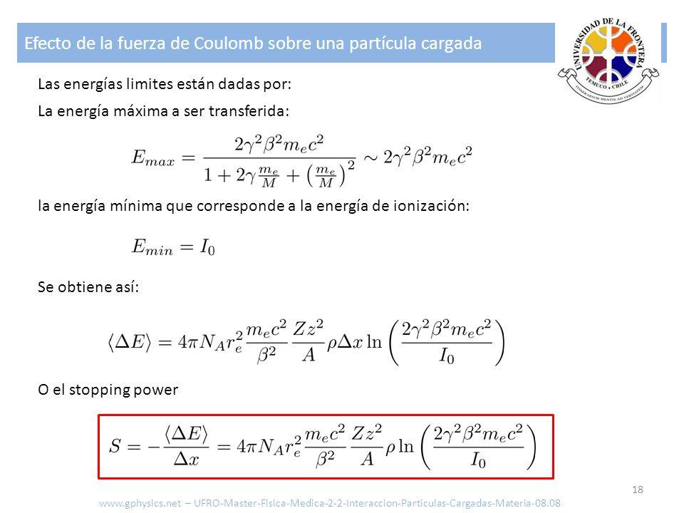 Efecto de la fuerza de Coulomb sobre una partícula cargada 18 Las energías limites están dadas por: la energía mínima que corresponde a la energía de