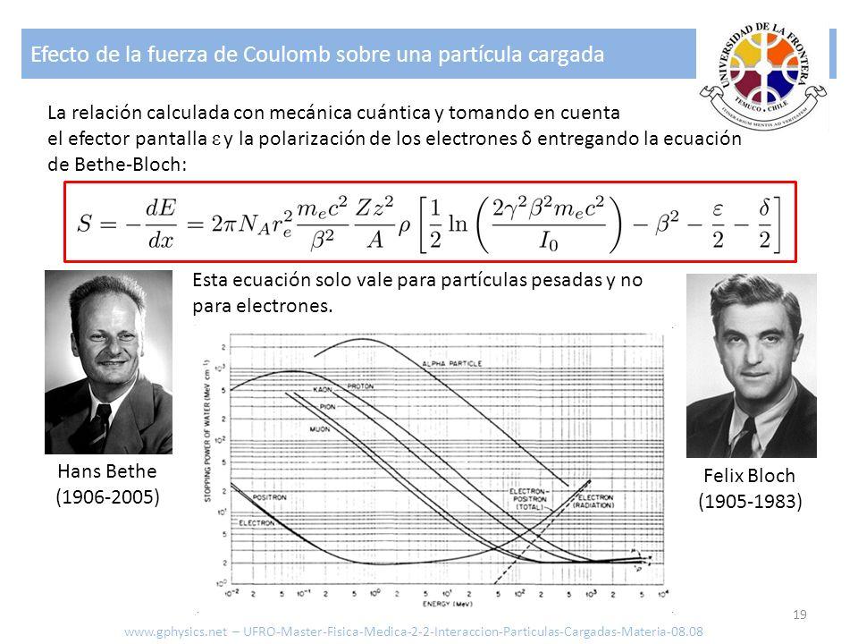 Efecto de la fuerza de Coulomb sobre una partícula cargada 19 La relación calculada con mecánica cuántica y tomando en cuenta el efector pantalla ε y la polarización de los electrones δ entregando la ecuación de Bethe-Bloch: Hans Bethe (1906-2005) Felix Bloch (1905-1983) Esta ecuación solo vale para partículas pesadas y no para electrones.