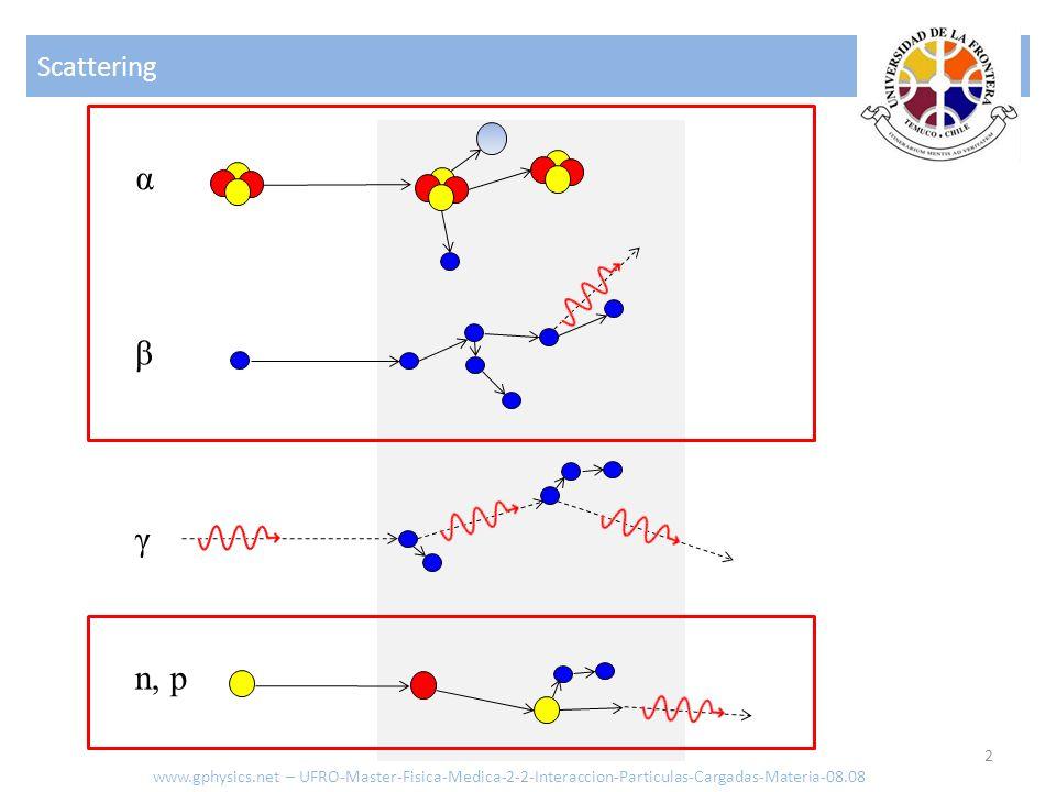 Efecto de la fuerza de Coulomb sobre una partícula cargada 13 Por ello en el caso que limitamos el efecto relativista solo a la partícula: La energía cinética del objetivo seria en la aproximación no relativista: Si comparamos la energía transferida al núcleo y a los electrones Con lo que se concluye que la primera puede ser despreciada frente a la energía absorbida por los electrones www.gphysics.net – UFRO-Master-Fisica-Medica-2-2-Interaccion-Particulas-Cargadas-Materia-08.08