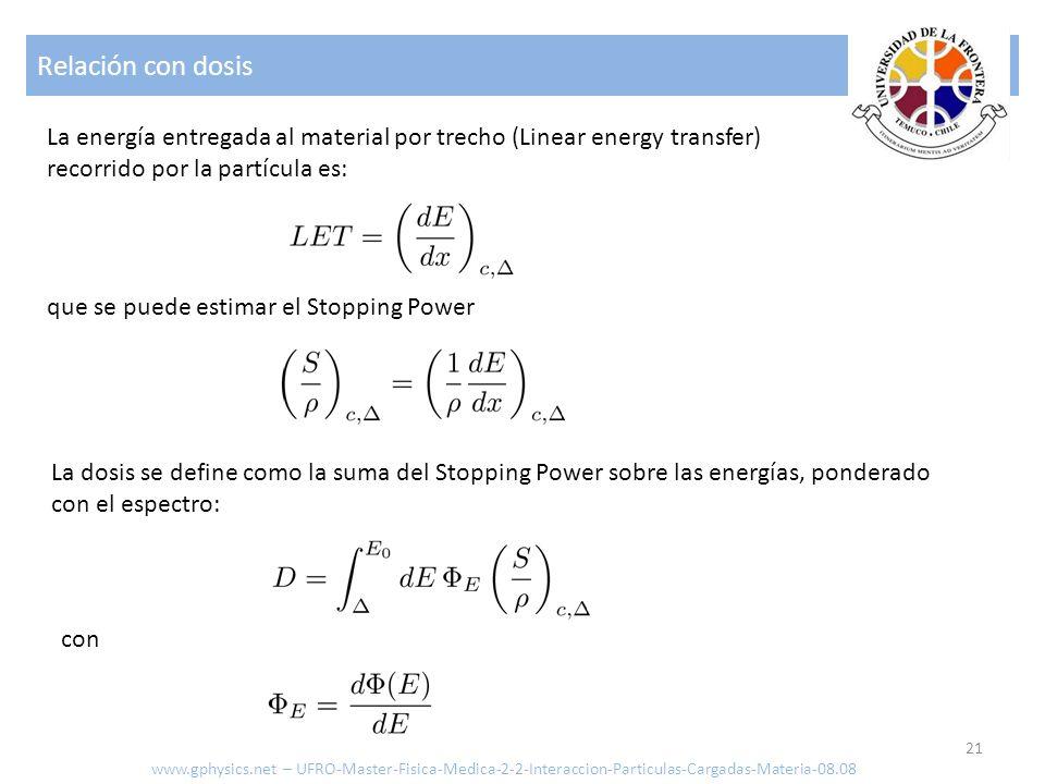 Relación con dosis 21 La energía entregada al material por trecho (Linear energy transfer) recorrido por la partícula es: que se puede estimar el Stop