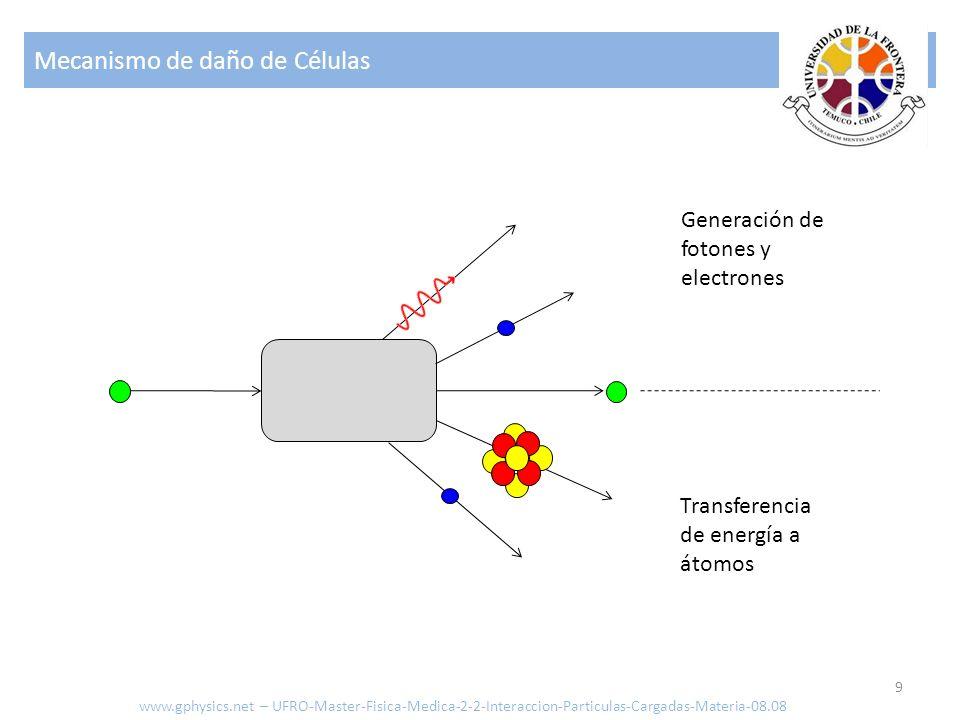 Mecanismo de daño de Células 9 Transferencia de energía a átomos Generación de fotones y electrones www.gphysics.net – UFRO-Master-Fisica-Medica-2-2-Interaccion-Particulas-Cargadas-Materia-08.08