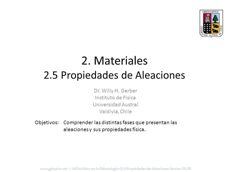 Formación de un solido Formación de núcleos Crecimiento de cristales Propiedades mecánicas Van a depender de la estructura granular Solidificación www.gphysics.net – UACH-Fisica en la Odontologia–2-5-Propiedades-de-Aleaciones-Version 05.09