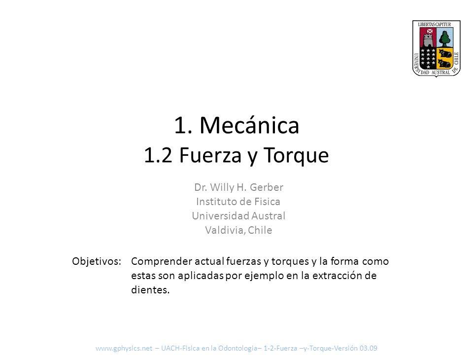 1. Mecánica 1.2 Fuerza y Torque Comprender actual fuerzas y torques y la forma como estas son aplicadas por ejemplo en la extracción de dientes. Objet