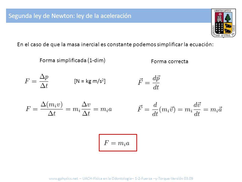 Segunda ley de Newton: ley de la aceleración En el caso de que la masa inercial es constante podemos simplificar la ecuación: [N = kg m/s 2 ] www.gphy