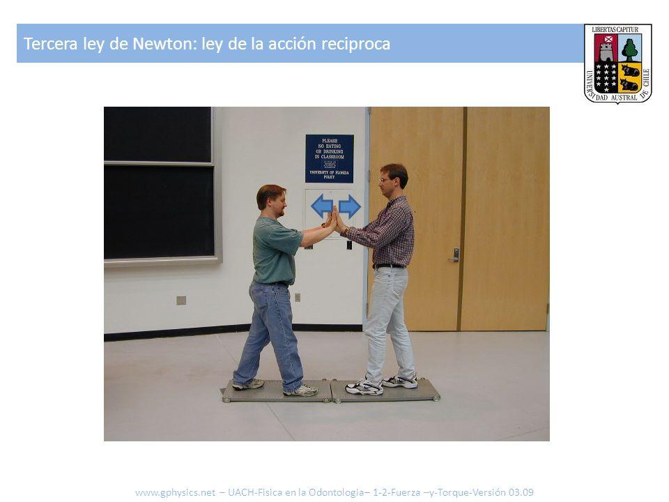 Tercera ley de Newton: ley de la acción reciproca www.gphysics.net – UACH-Fisica en la Odontologia– 1-2-Fuerza –y-Torque-Versión 03.09