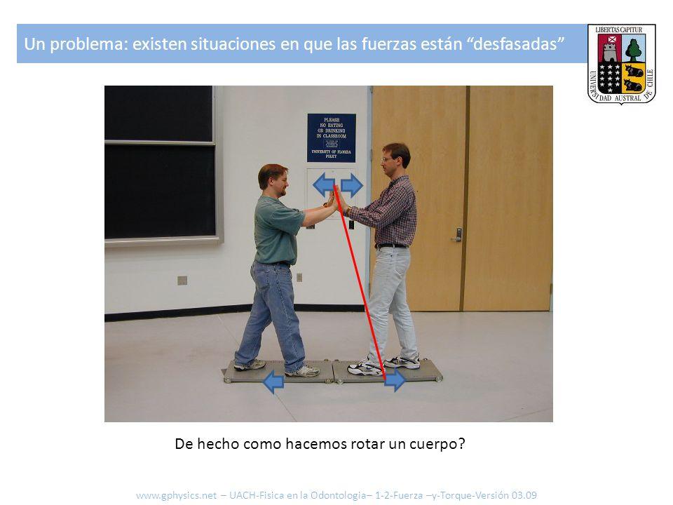 Un problema: existen situaciones en que las fuerzas están desfasadas De hecho como hacemos rotar un cuerpo? www.gphysics.net – UACH-Fisica en la Odont