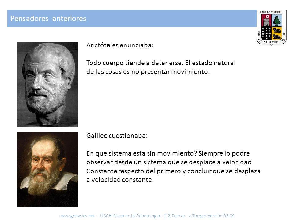 Pensadores anteriores Aristóteles enunciaba: Todo cuerpo tiende a detenerse. El estado natural de las cosas es no presentar movimiento. Galileo cuesti