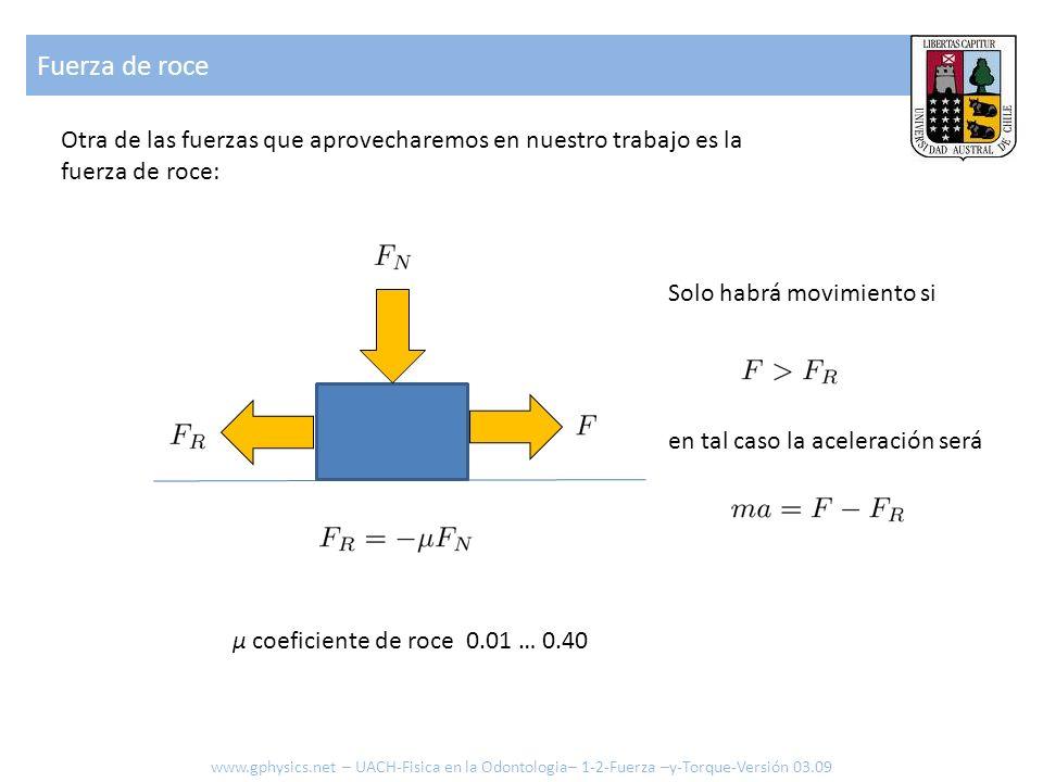 Fuerza de roce μ coeficiente de roce 0.01 … 0.40 Otra de las fuerzas que aprovecharemos en nuestro trabajo es la fuerza de roce: Solo habrá movimiento
