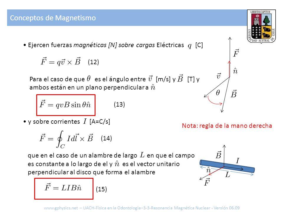Conceptos de Magnetismo www.gphysics.net – UACH-Física en la Odontologia–3-3-Resonancia Magnética Nuclear - Versión 06.09 Ejercen fuerzas magnéticas [
