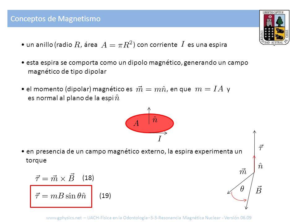 Conceptos de Magnetismo www.gphysics.net – UACH-Física en la Odontologia–3-3-Resonancia Magnética Nuclear - Versión 06.09 un anillo (radio, área ) con