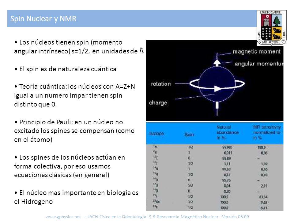 Spin Nuclear y NMR www.gphysics.net – UACH-Física en la Odontologia–3-3-Resonancia Magnética Nuclear - Versión 06.09 Los núcleos tienen spin (momento