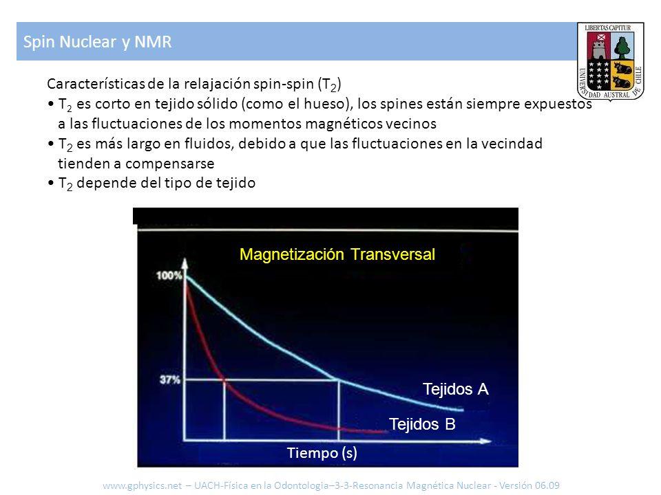 Spin Nuclear y NMR www.gphysics.net – UACH-Física en la Odontologia–3-3-Resonancia Magnética Nuclear - Versión 06.09 Características de la relajación