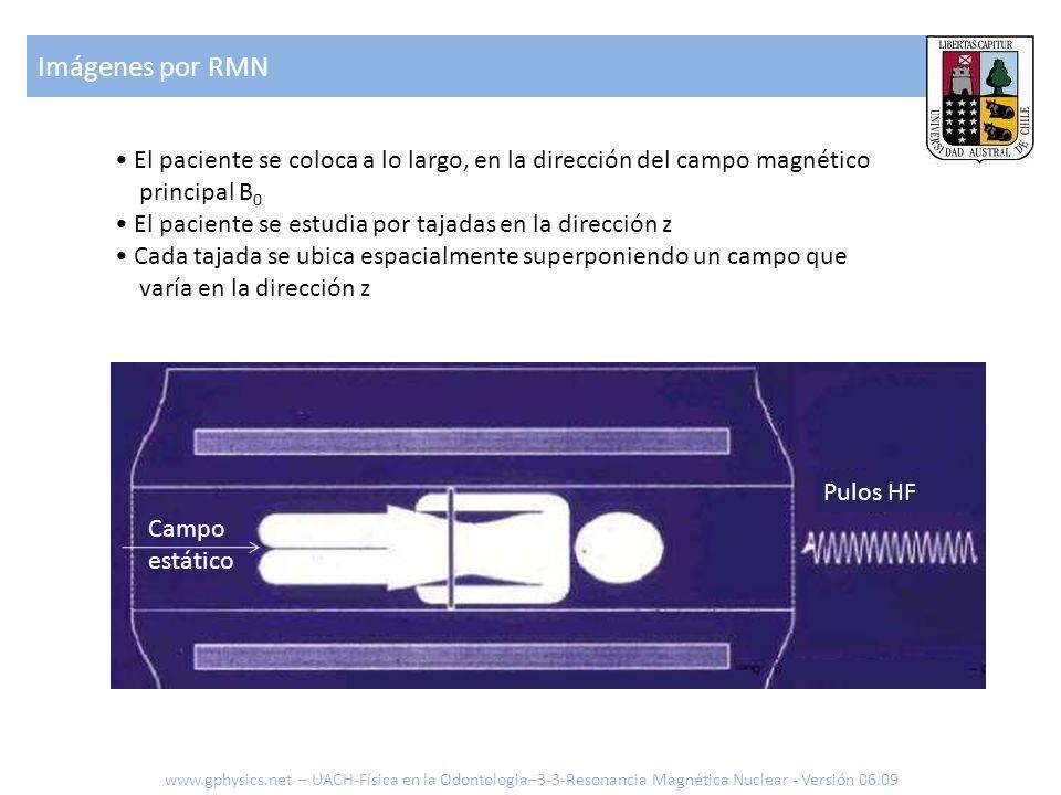 Imágenes por RMN www.gphysics.net – UACH-Física en la Odontologia–3-3-Resonancia Magnética Nuclear - Versión 06.09 Campo estático Pulos HF El paciente