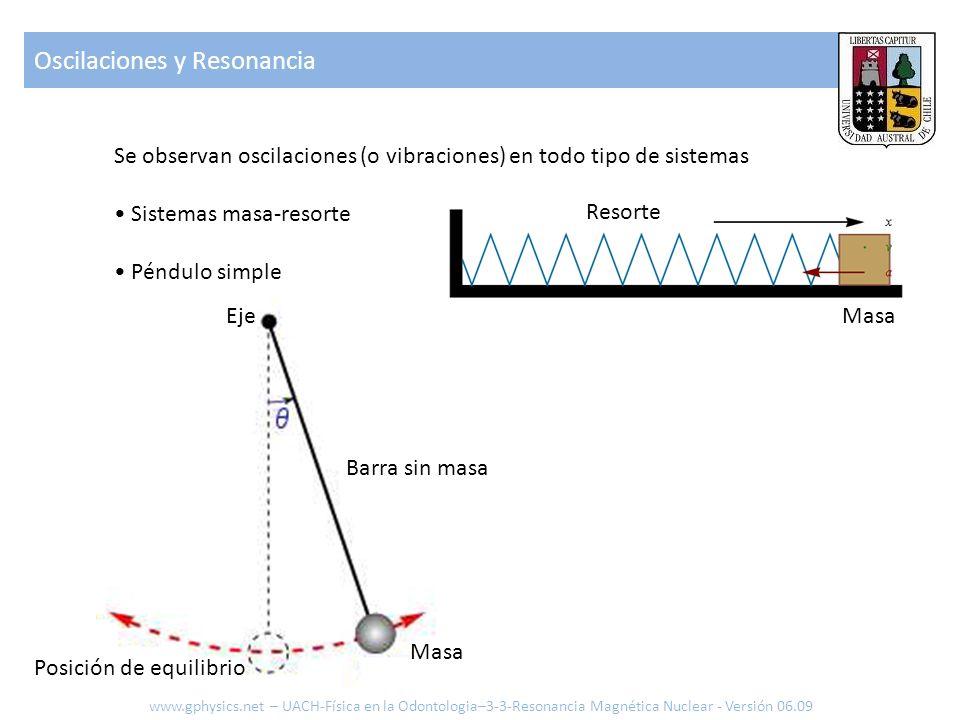 Oscilaciones y Resonancia Se observan oscilaciones (o vibraciones) en todo tipo de sistemas Sistemas masa-resorte Péndulo simple www.gphysics.net – UA