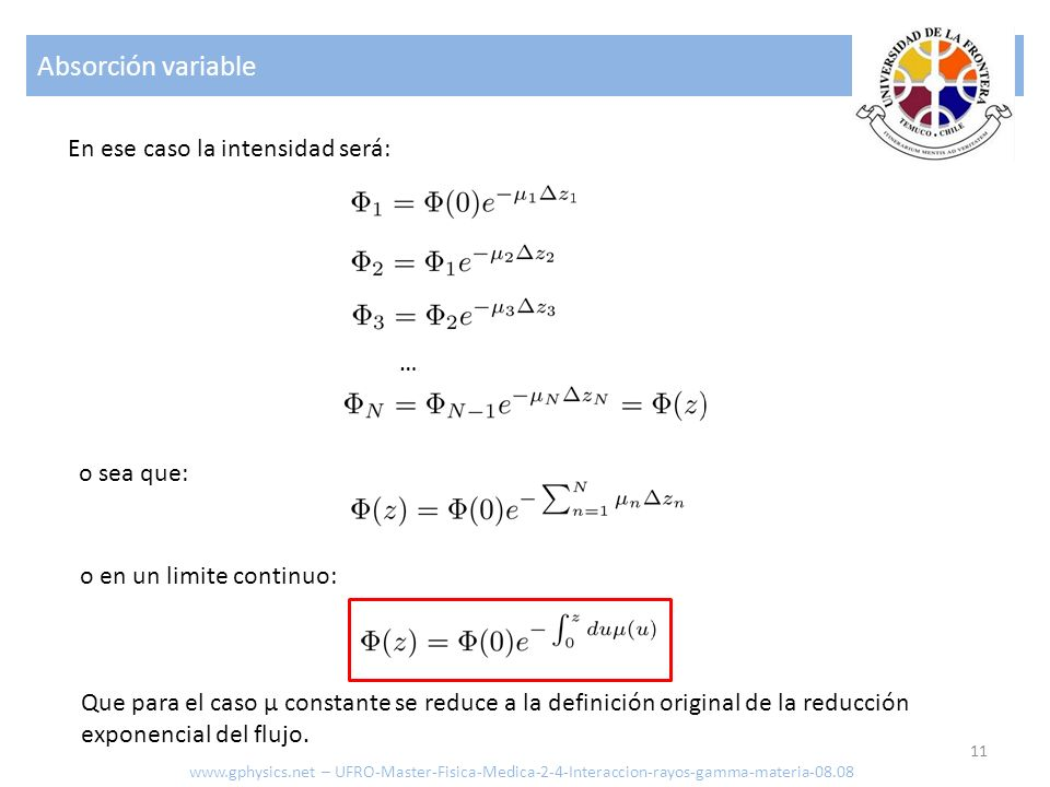 Absorción variable 11 En ese caso la intensidad será: o sea que: o en un limite continuo: Que para el caso μ constante se reduce a la definición origi
